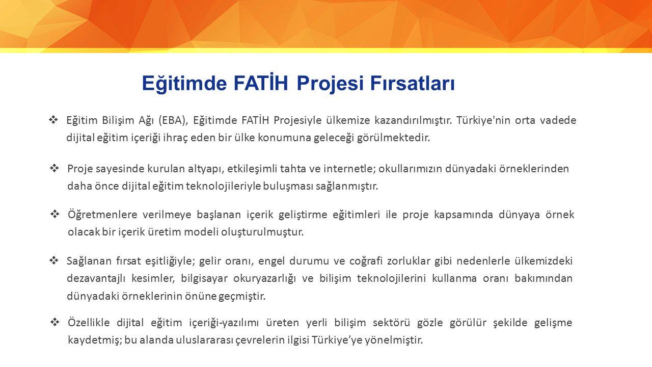 Eğitimde FATİH Projesi Fırsatları  Eğitim Bilişim Ağı (EBA), Eğitimde FATİH Projesiyle ülkemize kazandırılmıştır. Türkiye'nin orta vadede dijital eği