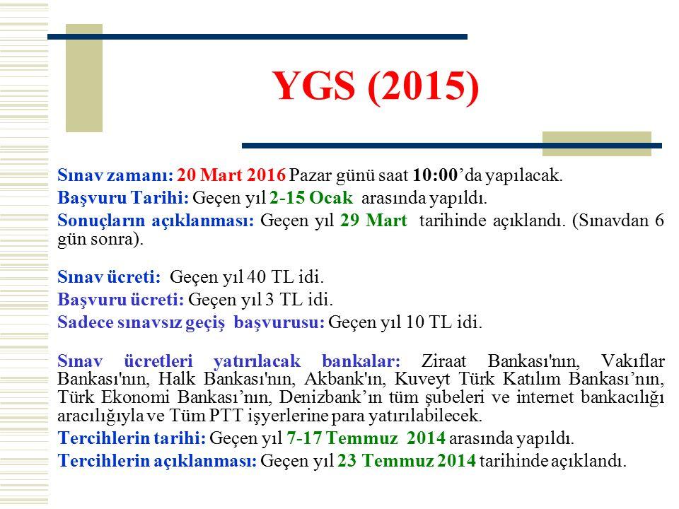 YGS (2015) Sınav zamanı: 20 Mart 2016 Pazar günü saat 10:00'da yapılacak. Başvuru Tarihi: Geçen yıl 2-15 Ocak arasında yapıldı. Sonuçların açıklanması