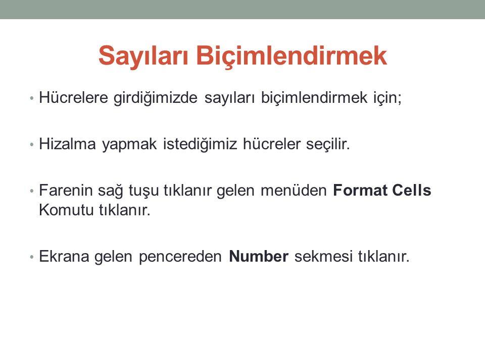 Sayıları Biçimlendirmek Hücrelere girdiğimizde sayıları biçimlendirmek için; Hizalma yapmak istediğimiz hücreler seçilir.