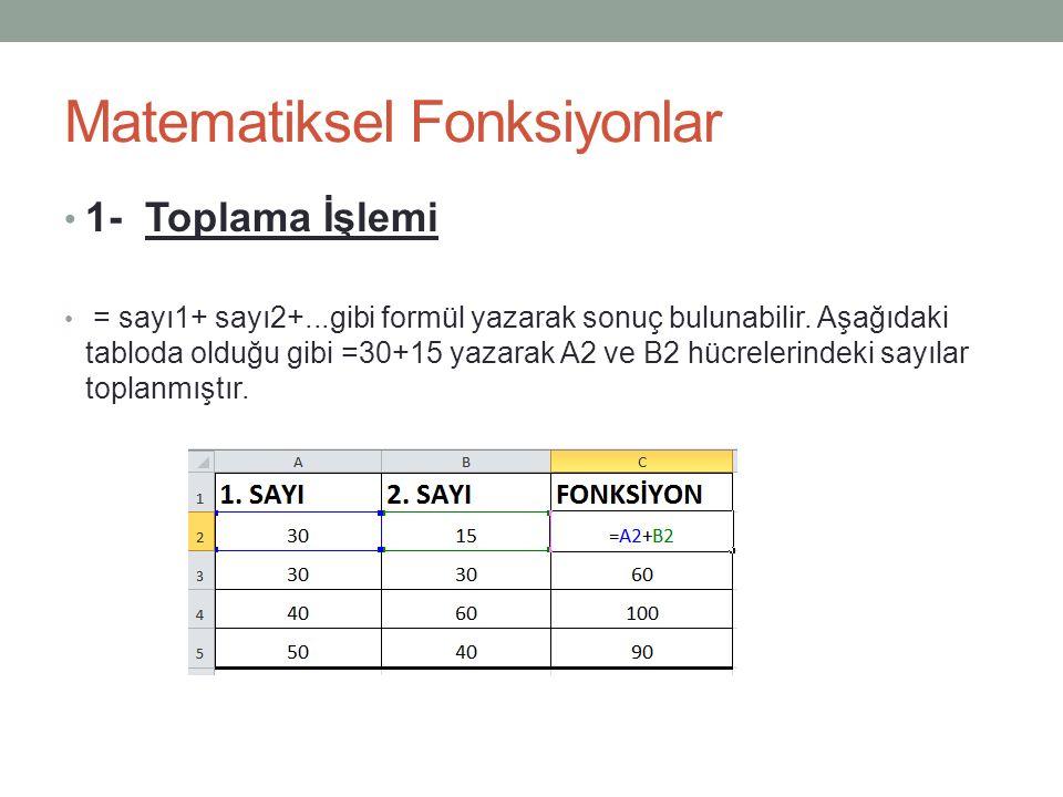 Matematiksel Fonksiyonlar 1- Toplama İşlemi = sayı1+ sayı2+...gibi formül yazarak sonuç bulunabilir.