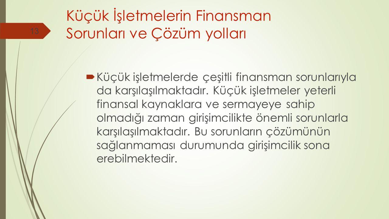 Küçük İşletmelerin Finansman Sorunları ve Çözüm yolları  Küçük işletmelerde çeşitli finansman sorunlarıyla da karşılaşılmaktadır.