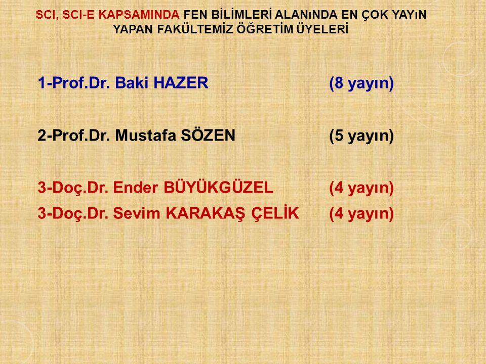 SCI, SCI-E KAPSAMINDA FEN BİLİMLERİ ALANıNDA EN ÇOK YAYıN YAPAN FAKÜLTEMİZ ÖĞRETİM ÜYELERİ 1-Prof.Dr. Baki HAZER (8 yayın) 2-Prof.Dr. Mustafa SÖZEN (5