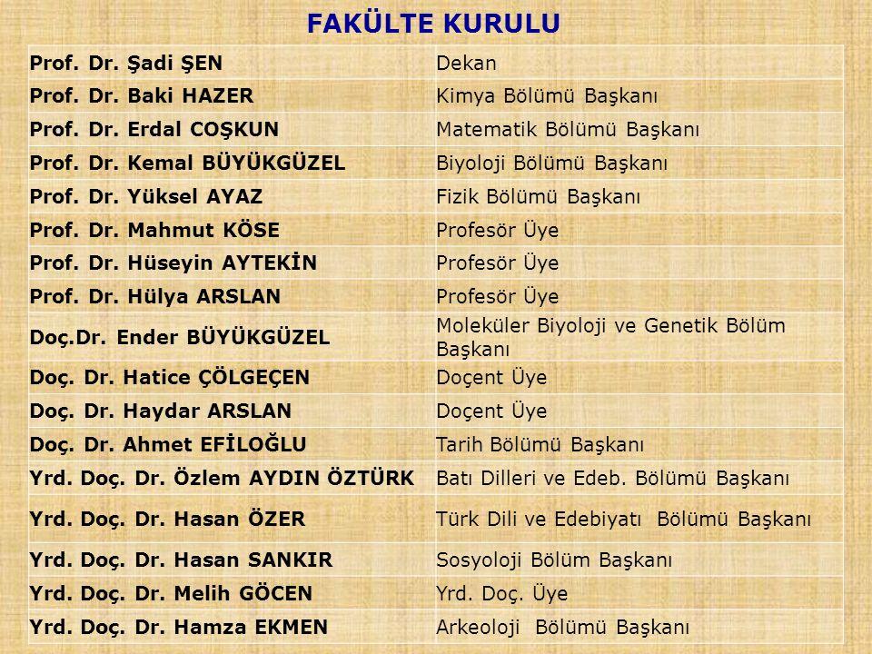 FAKÜLTE KURULU Prof.Dr. Şadi ŞENDekan Prof. Dr. Baki HAZERKimya Bölümü Başkanı Prof.