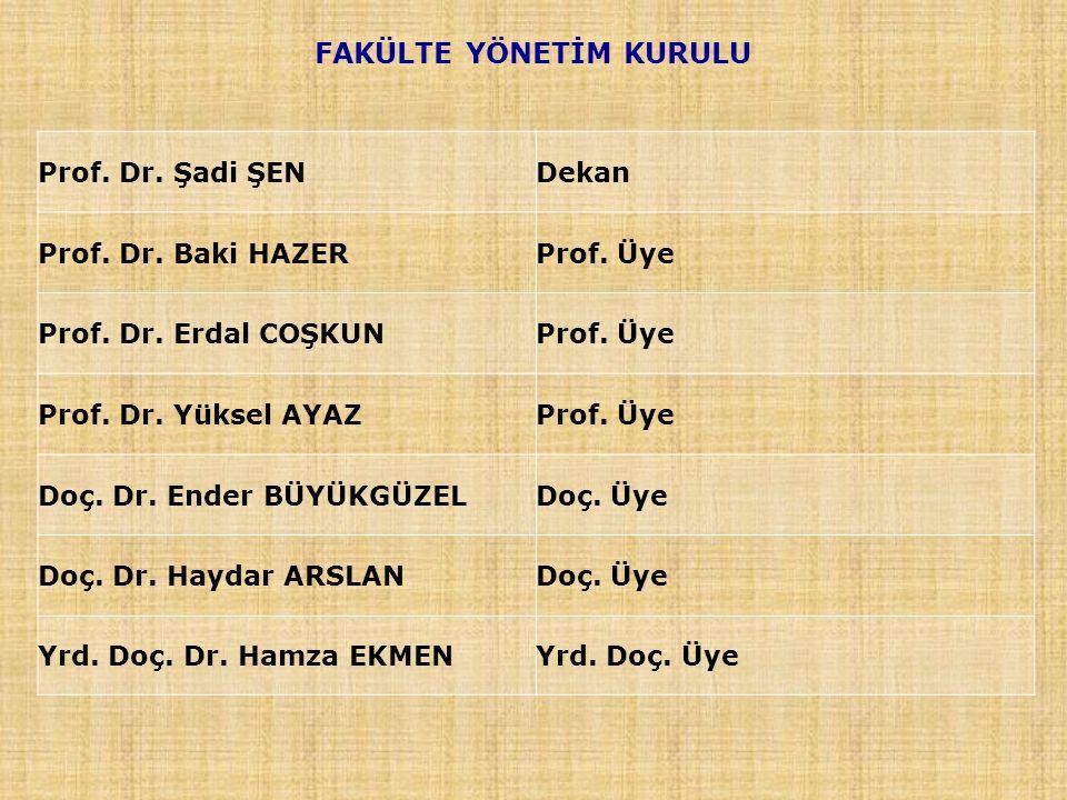FAKÜLTE YÖNETİM KURULU Prof. Dr. Şadi ŞEN Dekan Prof. Dr. Baki HAZERProf. Üye Prof. Dr. Erdal COŞKUNProf. Üye Prof. Dr. Yüksel AYAZProf. Üye Doç. Dr.