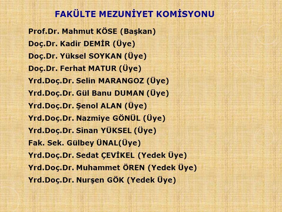 FAKÜLTE MEZUNİYET KOMİSYONU Prof.Dr.Mahmut KÖSE (Başkan) Doç.Dr.