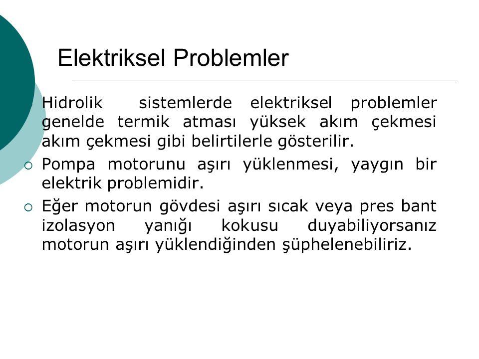 Elektriksel Problemler  Hidrolik sistemlerde elektriksel problemler genelde termik atması yüksek akım çekmesi akım çekmesi gibi belirtilerle gösteril