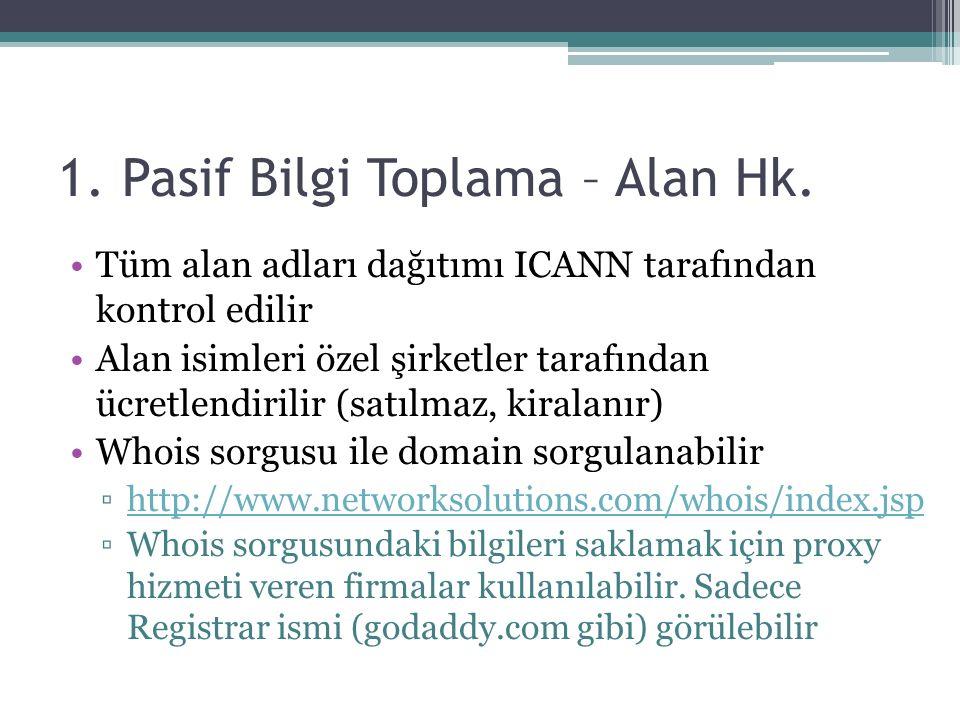 1.Pasif Bilgi Toplama – Alan Hk.