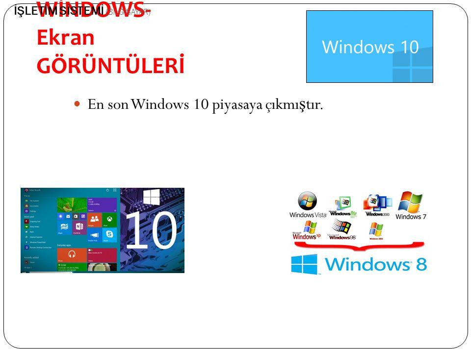 MİCROSOFT- WİNDOWS- Ekran GÖRÜNTÜLERİ En son Windows 10 piyasaya çıkmı ş tır. İŞLETİM SİSTEMİ (BİLGİSAYAR)