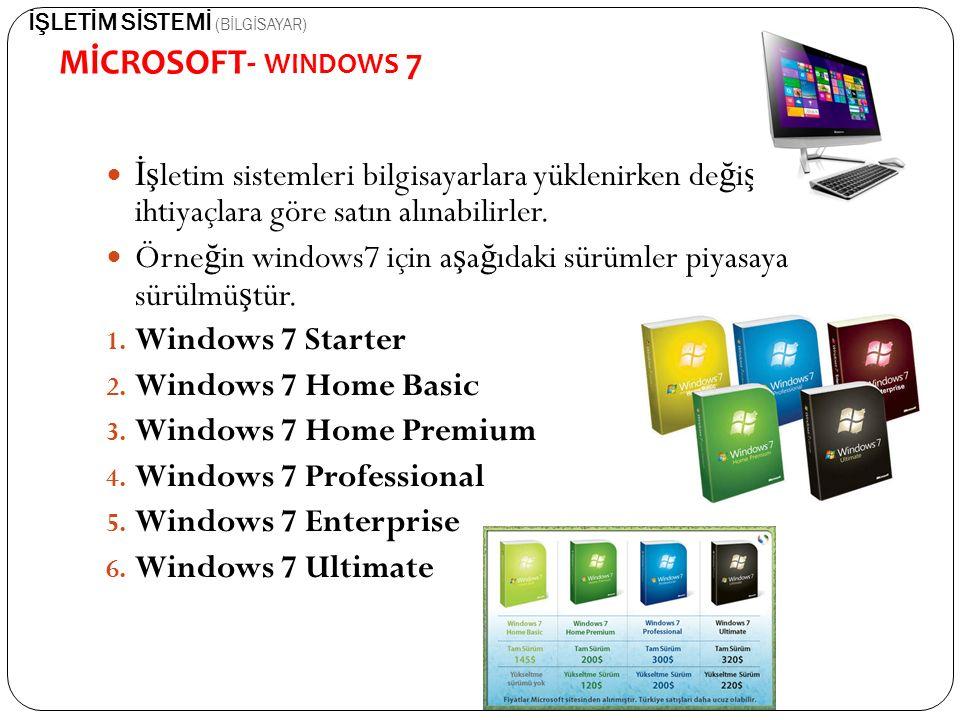 İş letim sistemleri bilgisayarlara yüklenirken de ğ i ş ik ihtiyaçlara göre satın alınabilirler. Örne ğ in windows7 için a ş a ğ ıdaki sürümler piyasa