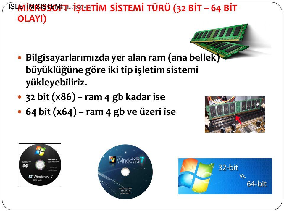 Bilgisayarlarımızda yer alan ram (ana bellek) büyüklüğüne göre iki tip işletim sistemi yükleyebiliriz. 32 bit (x86) – ram 4 gb kadar ise 64 bit (x64)