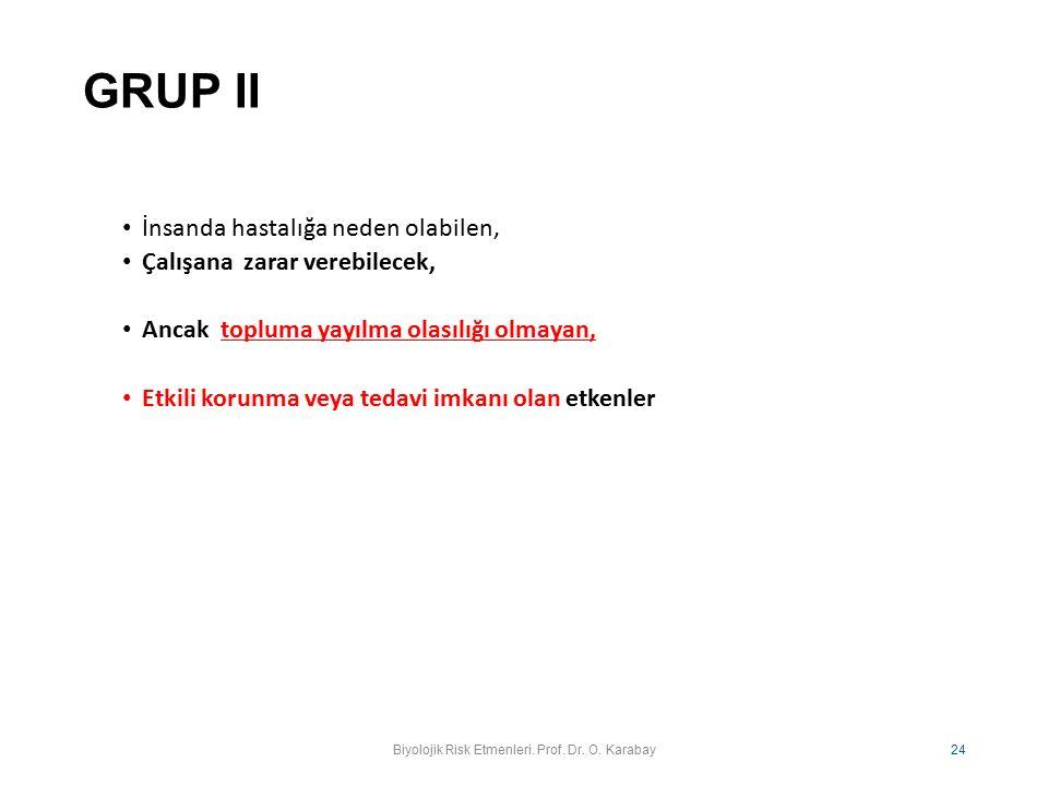 GRUP II İnsanda hastalığa neden olabilen, Çalışana zarar verebilecek, Ancak topluma yayılma olasılığı olmayan, Etkili korunma veya tedavi imkanı olan
