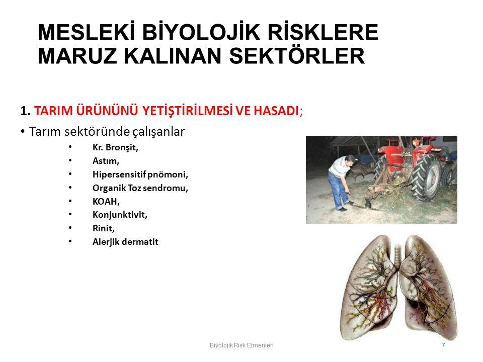 MUTAJEN Biyolojik Risk Etmenleri. Prof. Dr. O. Karabay 8
