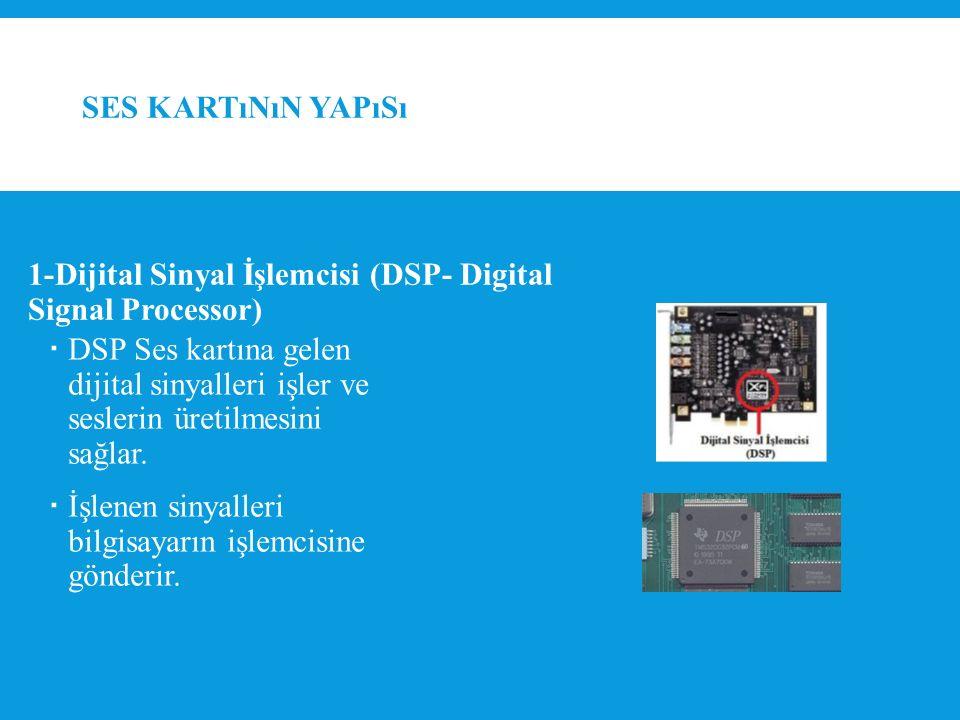 SES KARTıNıN YAPıSı  DSP Ses kartına gelen dijital sinyalleri işler ve seslerin üretilmesini sağlar.
