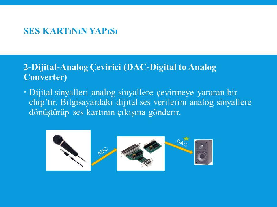 SES KARTıNıN YAPıSı 2-Dijital-Analog Çevirici (DAC-Digital to Analog Converter)  Dijital sinyalleri analog sinyallere çevirmeye yararan bir chip'tir.
