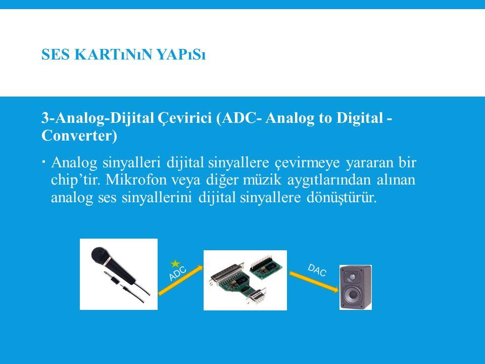 SES KARTıNıN YAPıSı 3-Analog-Dijital Çevirici (ADC- Analog to Digital - Converter)  Analog sinyalleri dijital sinyallere çevirmeye yararan bir chip'tir.
