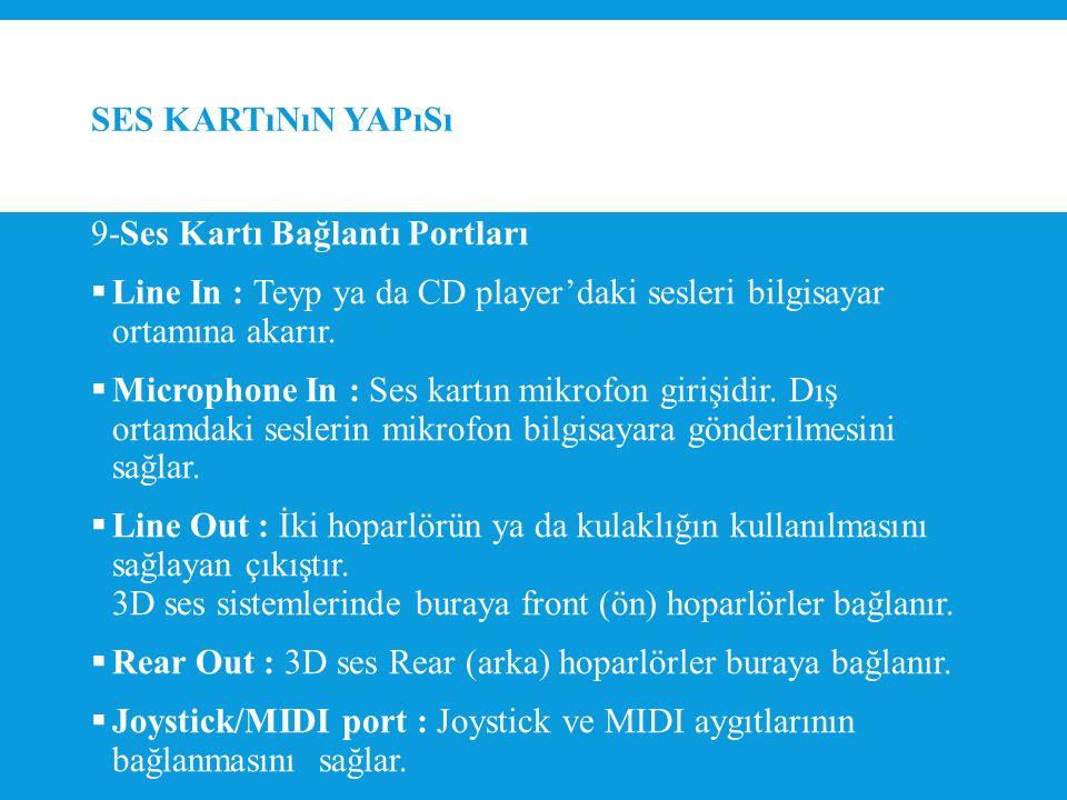 SES KARTıNıN YAPıSı 9-Ses Kartı Bağlantı Portları  Line In : Teyp ya da CD player'daki sesleri bilgisayar ortamına akarır.