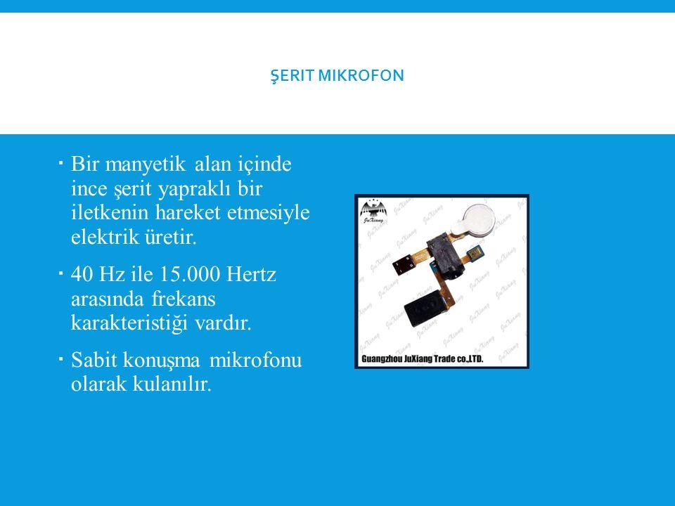 ŞERIT MIKROFON  Bir manyetik alan içinde ince şerit yapraklı bir iletkenin hareket etmesiyle elektrik üretir.