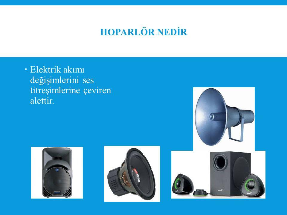 HOPARLÖR NEDİR  Elektrik akımı değişimlerini ses titreşimlerine çeviren alettir.