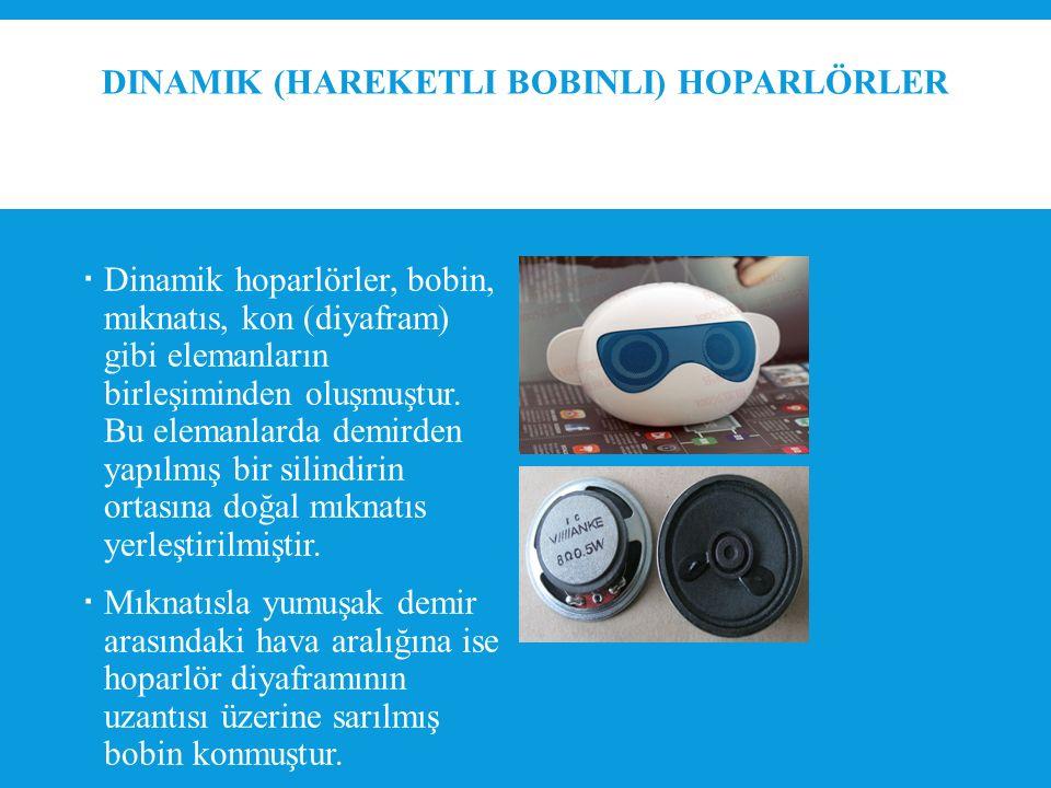 DINAMIK (HAREKETLI BOBINLI) HOPARLÖRLER  Dinamik hoparlörler, bobin, mıknatıs, kon (diyafram) gibi elemanların birleşiminden oluşmuştur.