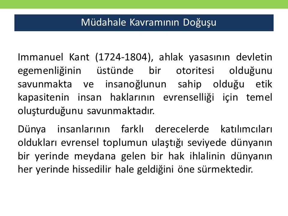 Müdahale Kavramının Doğuşu Immanuel Kant (1724-1804), ahlak yasasının devletin egemenliğinin üstünde bir otoritesi olduğunu savunmakta ve insanoğlunun