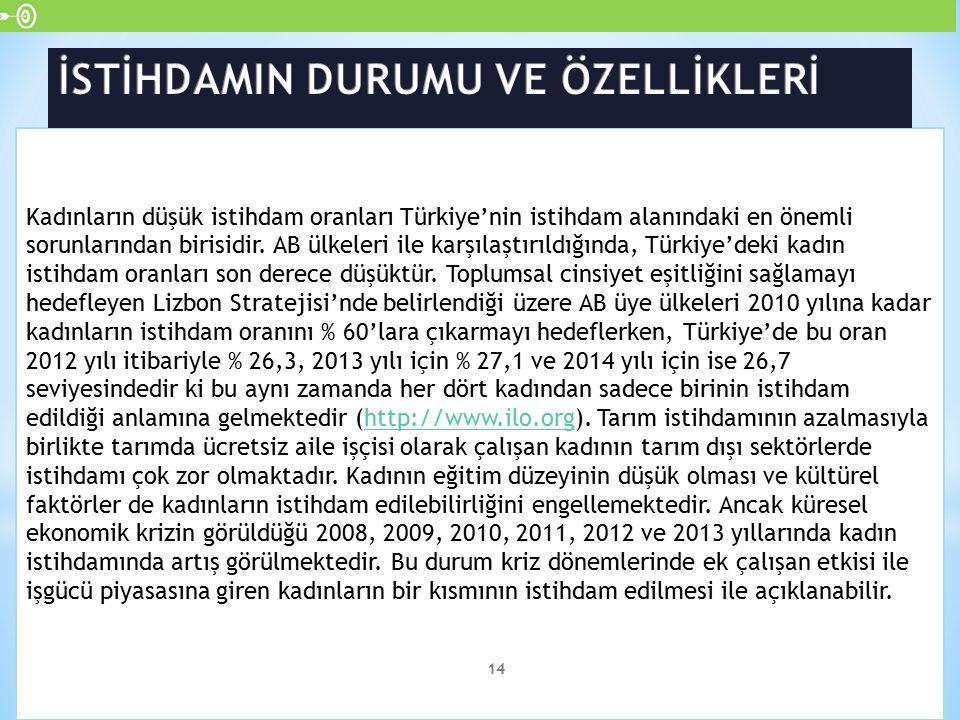 Kadınların düşük istihdam oranları Türkiye'nin istihdam alanındaki en önemli sorunlarından birisidir. AB ülkeleri ile karşılaştırıldığında, Türkiye'de