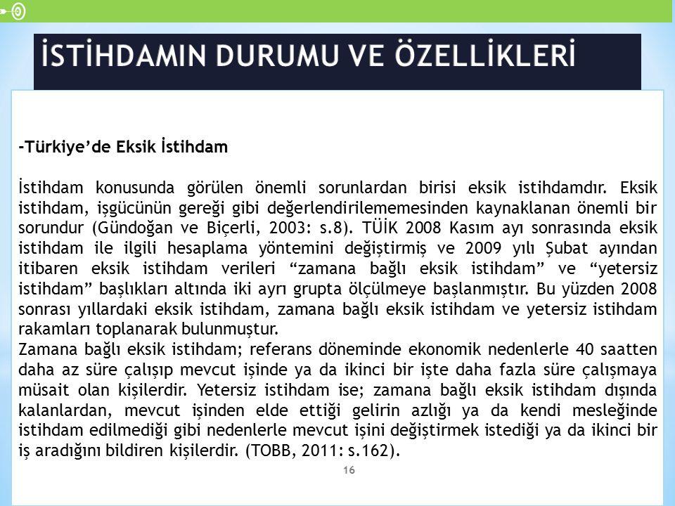 -Türkiye'de Eksik İstihdam İstihdam konusunda görülen önemli sorunlardan birisi eksik istihdamdır. Eksik istihdam, işgücünün gereği gibi değerlendiril