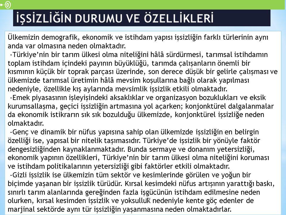Ülkemizin demografik, ekonomik ve istihdam yapısı işsizliğin farklı türlerinin aynı anda var olmasına neden olmaktadır. -Türkiye'nin bir tarım ülkesi