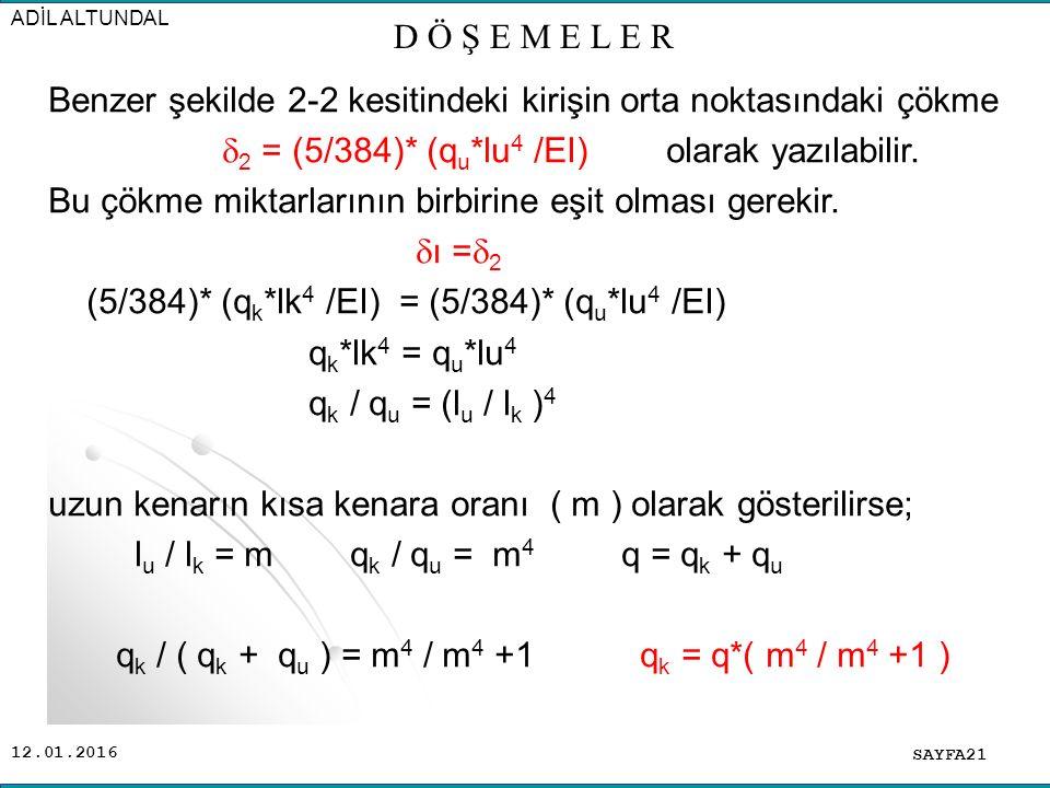 12.01.2016 Benzer şekilde 2-2 kesitindeki kirişin orta noktasındaki çökme  2 = (5/384)* (q u *lu 4 /EI) olarak yazılabilir.