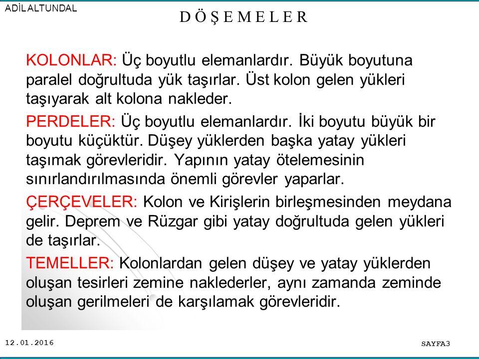 12.01.2016 SAYFA64 ADİL ALTUNDAL D Ö Ş E M E L E R 3cm.