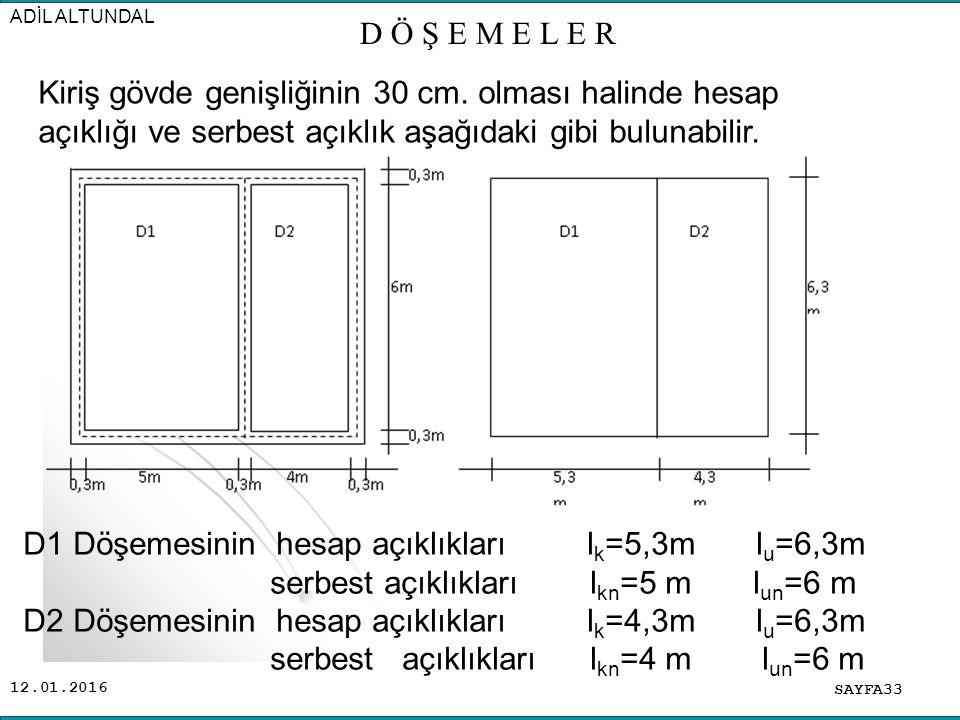12.01.2016 SAYFA33 ADİL ALTUNDAL D Ö Ş E M E L E R Kiriş gövde genişliğinin 30 cm.