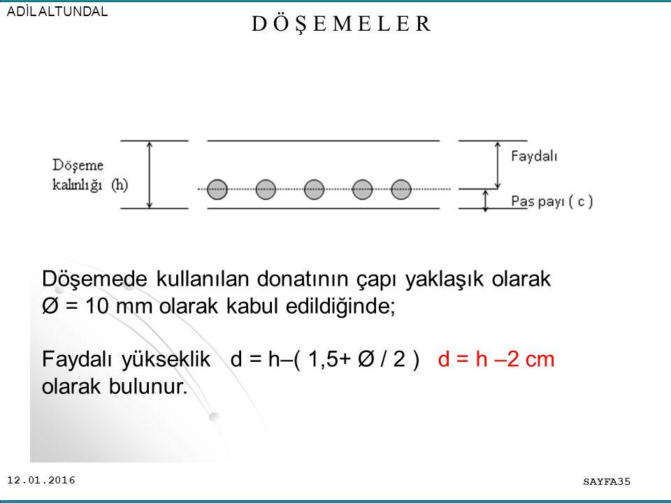 12.01.2016 SAYFA35 ADİL ALTUNDAL D Ö Ş E M E L E R Döşemede kullanılan donatının çapı yaklaşık olarak Ø = 10 mm olarak kabul edildiğinde; Faydalı yükseklik d = h–( 1,5+ Ø / 2 ) d = h –2 cm olarak bulunur.