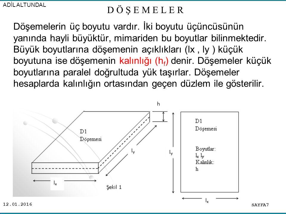 12.01.2016 Döşemelerin Sınıflandırılması: Konstruktif olarak; A) Kirişli Döşemeler: Dörtkenarında kirişler olan ve karşıladığı yükleri bu, kirişlere nakleden döşemelerdir.