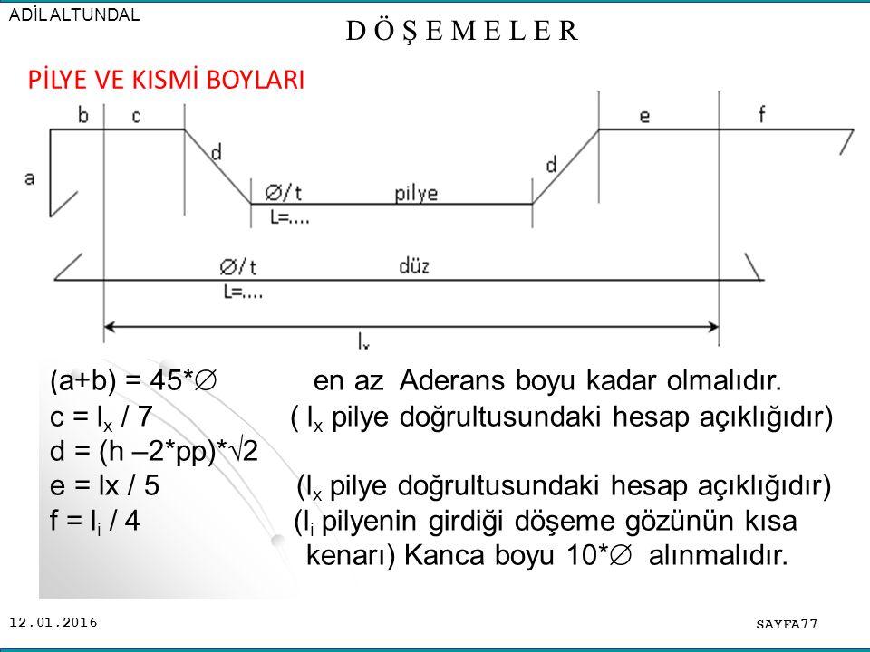 12.01.2016 SAYFA77 ADİL ALTUNDAL D Ö Ş E M E L E R ( a+b) = 45*  en az Aderans boyu kadar olmalıdır.