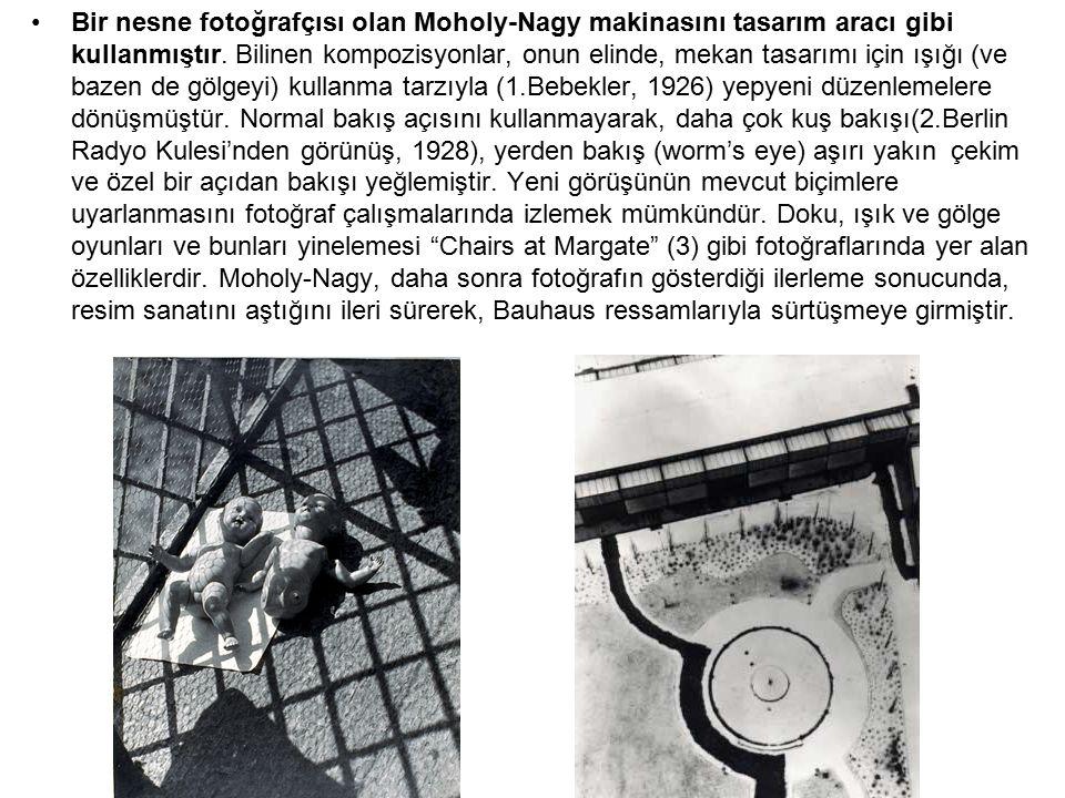 Bir nesne fotoğrafçısı olan Moholy-Nagy makinasını tasarım aracı gibi kullanmıştır. Bilinen kompozisyonlar, onun elinde, mekan tasarımı için ışığı (ve