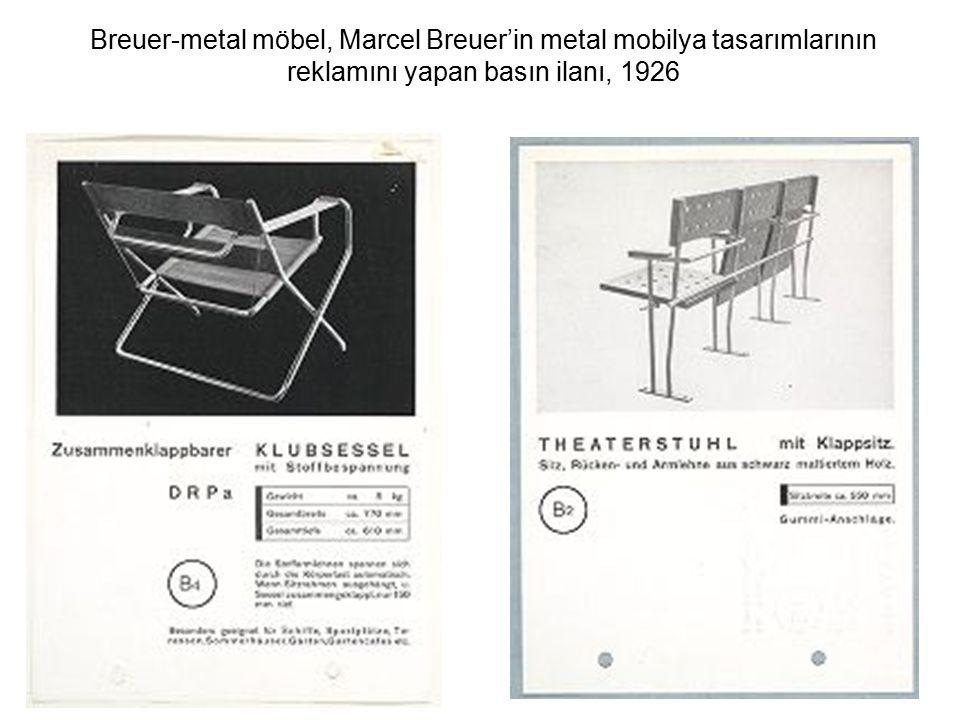 Breuer-metal möbel, Marcel Breuer'in metal mobilya tasarımlarının reklamını yapan basın ilanı, 1926