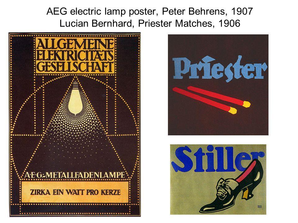 AEG electric lamp poster, Peter Behrens, 1907 Lucian Bernhard, Priester Matches, 1906