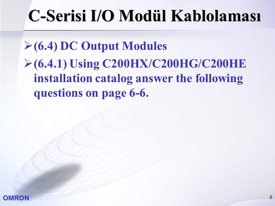 OMRON 8 C-Serisi I/O Modül Kablolaması  (6.4) DC Output Modules  (6.4.1) Using C200HX/C200HG/C200HE installation catalog answer the following questi