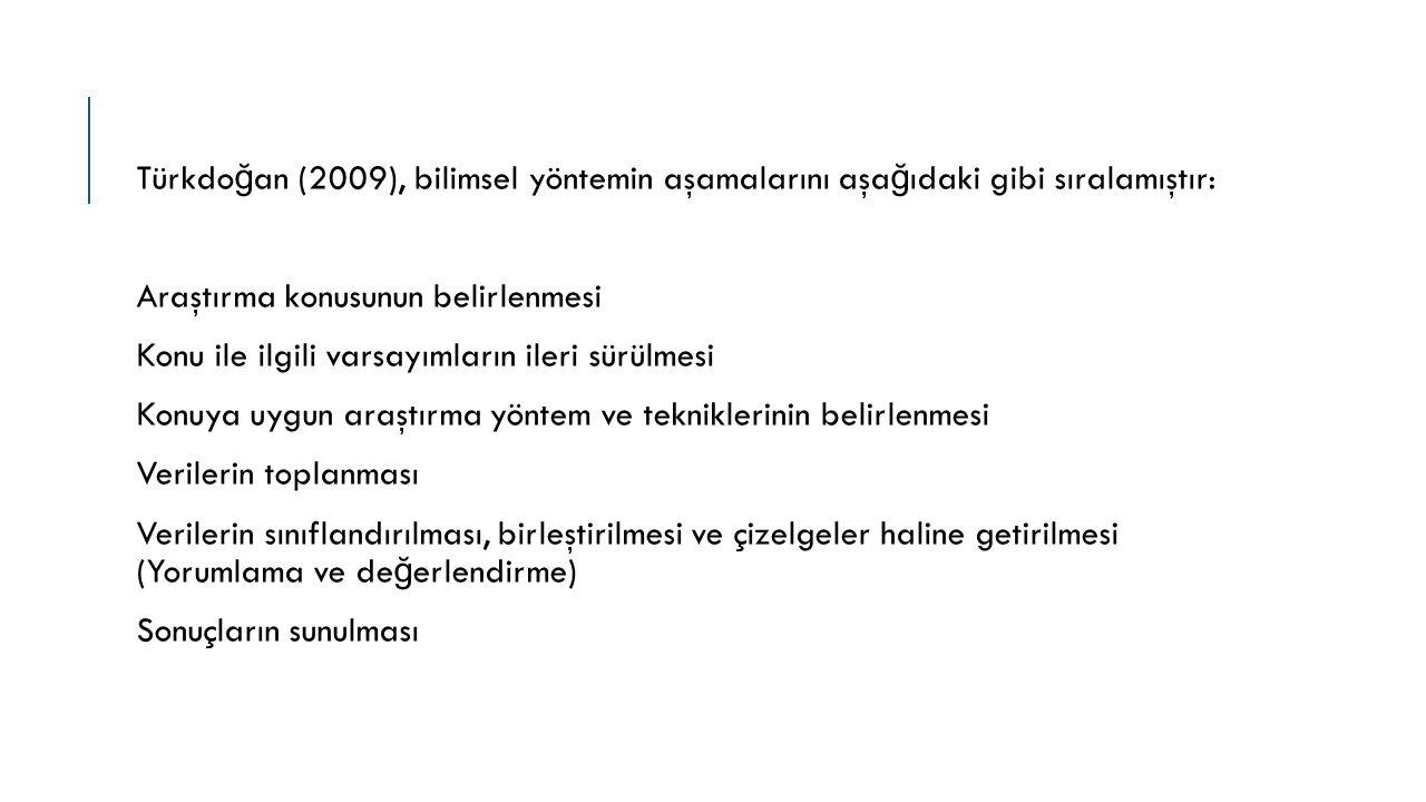 Türkdo ğ an (2009), bilimsel yöntemin aşamalarını aşa ğ ıdaki gibi sıralamıştır: Araştırma konusunun belirlenmesi Konu ile ilgili varsayımların ileri