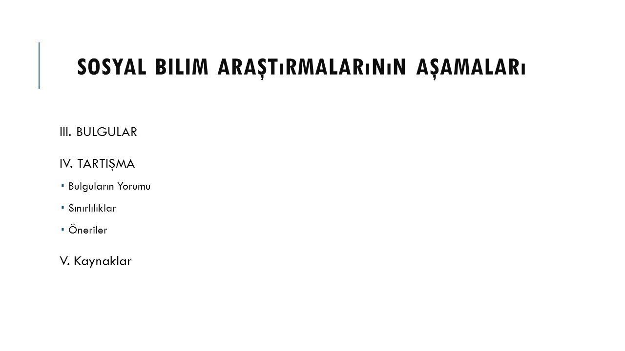 SOSYAL BILIM ARAŞTıRMALARıNıN AŞAMALARı III. BULGULAR IV. TARTIŞMA  Bulguların Yorumu  Sınırlılıklar  Öneriler V. Kaynaklar