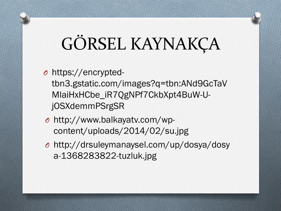 GÖRSEL KAYNAKÇA O http://www.balkayatv.com/wp- content/uploads/2014/02/su.jpg O http://drsuleymanaysel.com/up/dosya/dosy a-1368283822-tuzluk.jpg