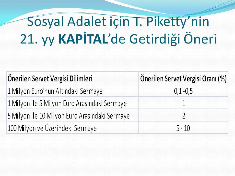 Sosyal Adalet için T. Piketty'nin 21. yy KAPİTAL'de Getirdiği Öneri