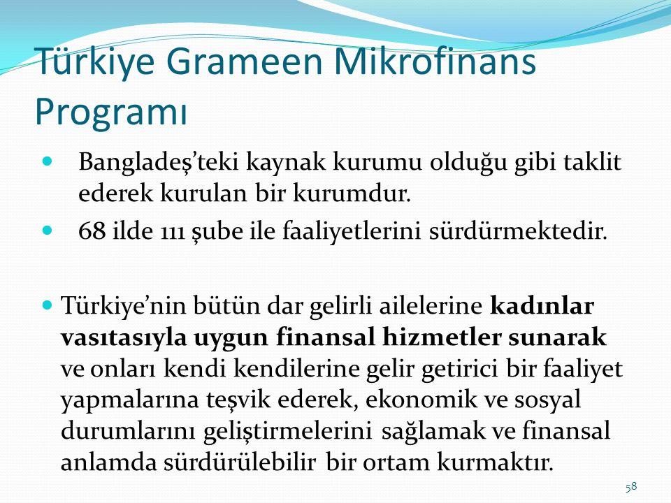 Türkiye Grameen Mikrofinans Programı Bangladeş'teki kaynak kurumu olduğu gibi taklit ederek kurulan bir kurumdur.