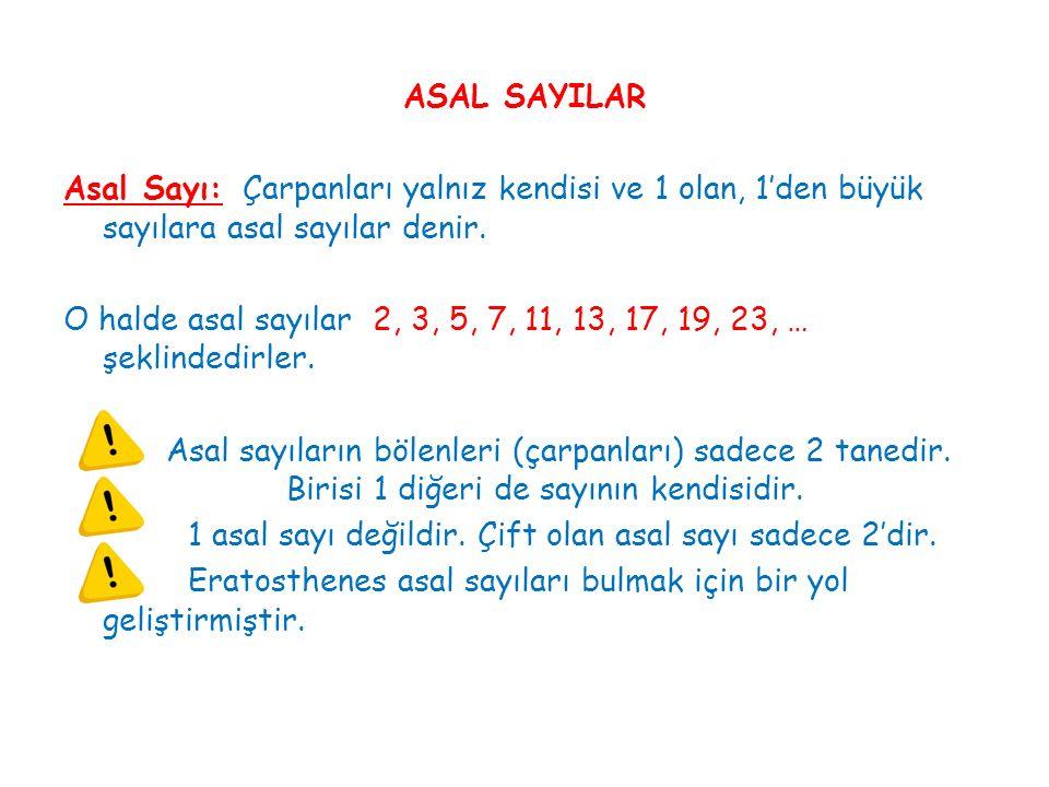 ASAL SAYILAR Asal Sayı: Çarpanları yalnız kendisi ve 1 olan, 1'den büyük sayılara asal sayılar denir. O halde asal sayılar 2, 3, 5, 7, 11, 13, 17, 19,