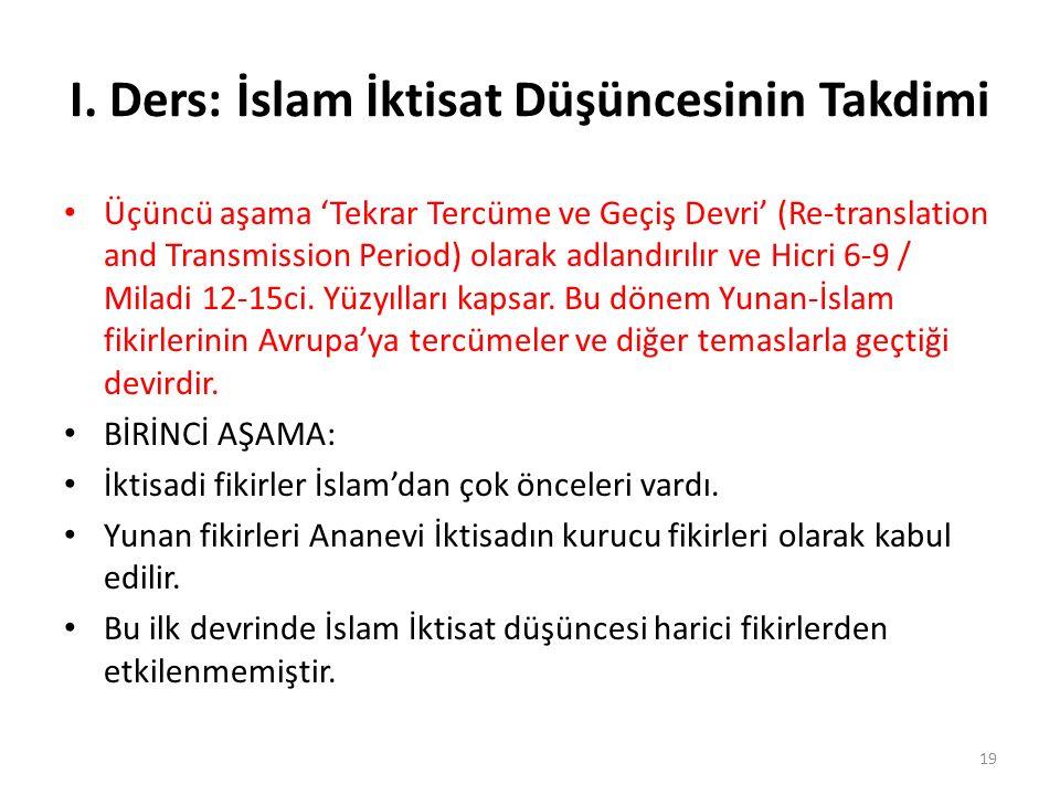 I. Ders: İslam İktisat Düşüncesinin Takdimi Üçüncü aşama 'Tekrar Tercüme ve Geçiş Devri' (Re-translation and Transmission Period) olarak adlandırılır