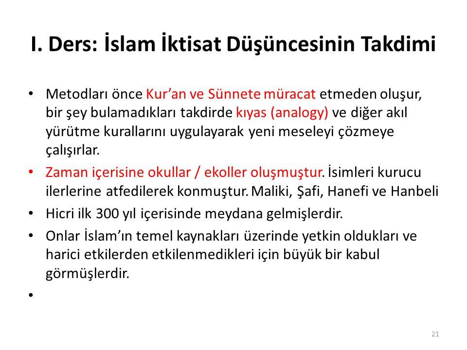 I. Ders: İslam İktisat Düşüncesinin Takdimi Metodları önce Kur'an ve Sünnete müracat etmeden oluşur, bir şey bulamadıkları takdirde kıyas (analogy) ve
