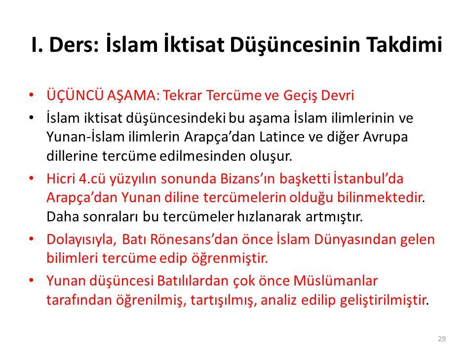 I. Ders: İslam İktisat Düşüncesinin Takdimi ÜÇÜNCÜ AŞAMA: Tekrar Tercüme ve Geçiş Devri İslam iktisat düşüncesindeki bu aşama İslam ilimlerinin ve Yun