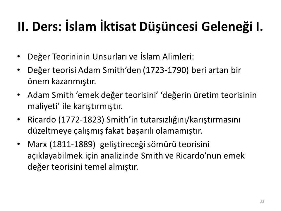 II. Ders: İslam İktisat Düşüncesi Geleneği I. Değer Teorininin Unsurları ve İslam Alimleri: Değer teorisi Adam Smith'den (1723-1790) beri artan bir ön