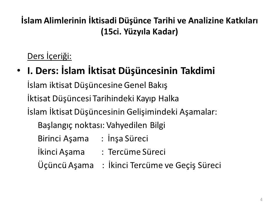İslam Alimlerinin İktisadi Düşünce Tarihi ve Analizine Katkıları (15ci. Yüzyıla Kadar) Ders İçeriği: I. Ders: İslam İktisat Düşüncesinin Takdimi İslam