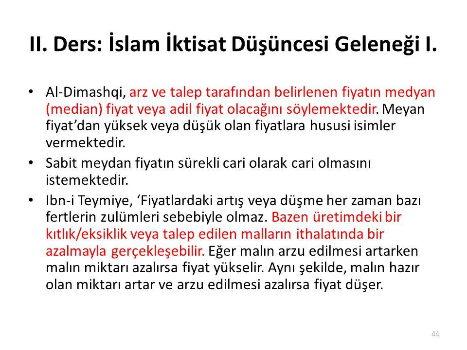 II. Ders: İslam İktisat Düşüncesi Geleneği I. Al-Dimashqi, arz ve talep tarafından belirlenen fiyatın medyan (median) fiyat veya adil fiyat olacağını