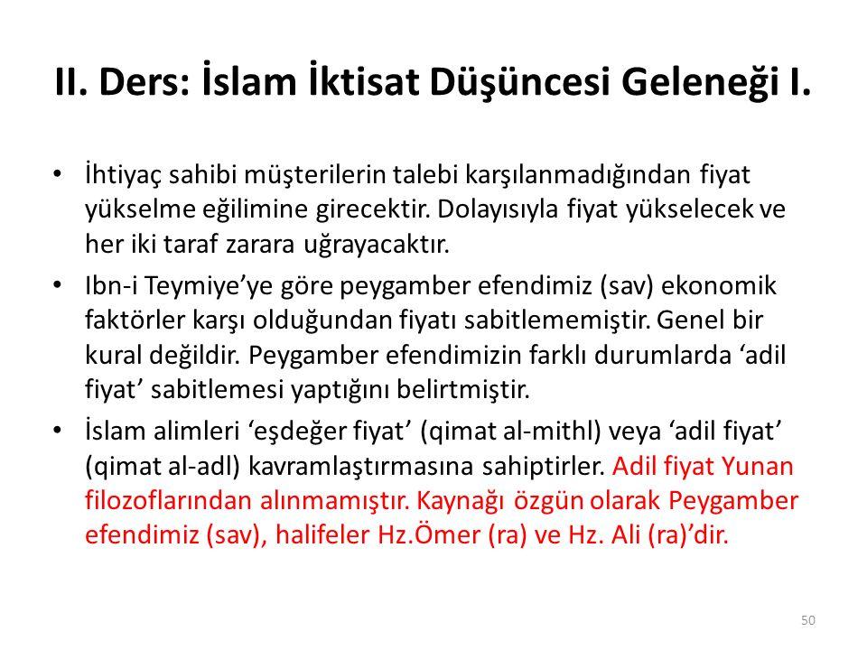II. Ders: İslam İktisat Düşüncesi Geleneği I. İhtiyaç sahibi müşterilerin talebi karşılanmadığından fiyat yükselme eğilimine girecektir. Dolayısıyla f
